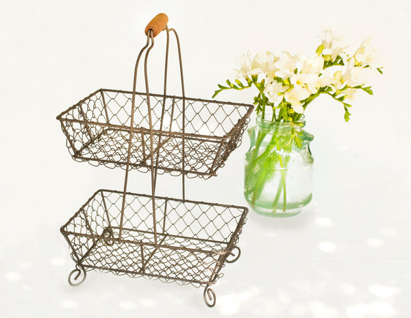 Farmhouse Decor Wire Cupcake Stand | Two Tiered Rustic Wire Basket w/ Wooden Handle