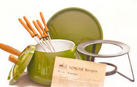 Vintage Mid Century Fondue Set, Green Fondue Pot with six Fondue Skewers, Original from the 1960s Kitchen