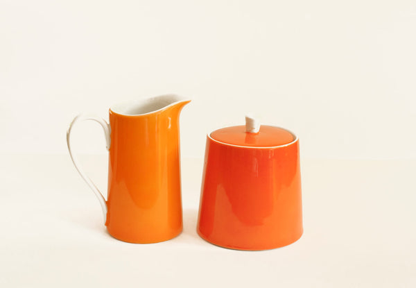 Lefton China Sugar and Creamer Orange