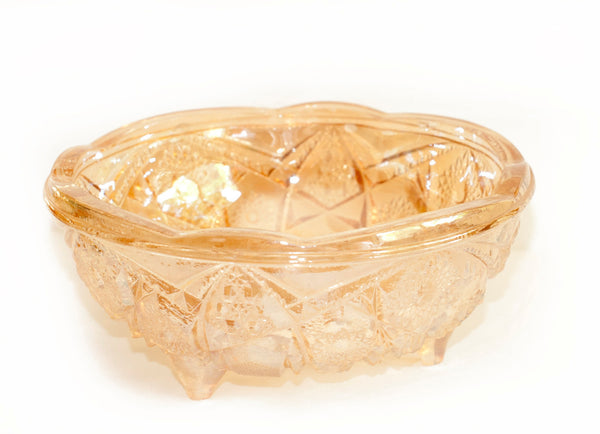 Vintage Gold Glass Serving Bowl | Vintage Pressed Glass Bowl Jeanette Glass Co. Fentec Pattern