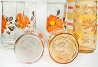 Vintage Highball Glasses set of 6 | Libbey Glasses Orange Flowers and Gold Flowers