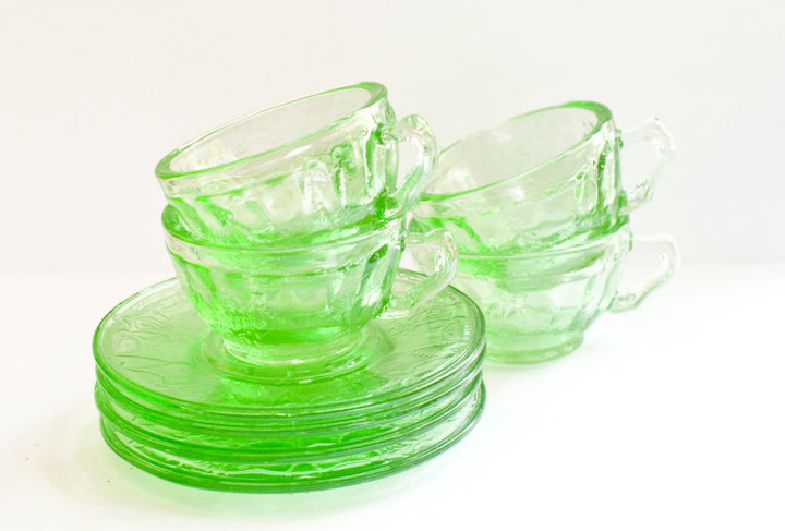 Vintage Miniature Mosser Glass  Cup and Saucer 8 piece Tea Set | Collectible Green Mosser