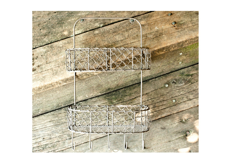 Rustic Farmhouse Chicken Wire Holder and Spice Rack