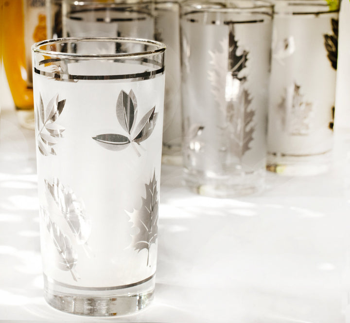 Vintage Barware Set Mad Men Mid Century Tumblers by Libbey | Frosted White & Silver Leaves Libbey Pattern