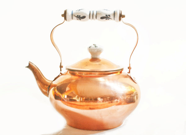 Vintage Copper Teapot with Ceramic Handle /Home and Living, Kitchen and Dining,Coffee and Tea Makers/retro teapots,tea kettles