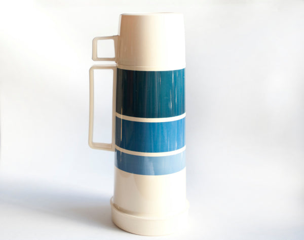 Vintage Blue and White Thermos Mid Century to 1980s | Great for camping, your lunch box, picnics, and road trips