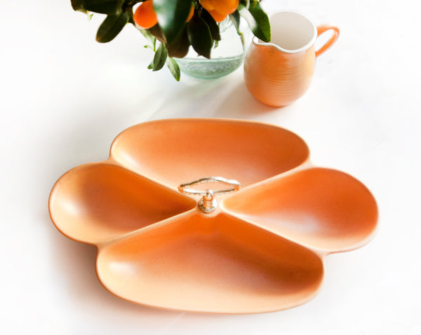 Vintage Mid Century Modern California Pottery USA Matte Orange Glaze | Divided Serving Dish with Handle and 4 Sections