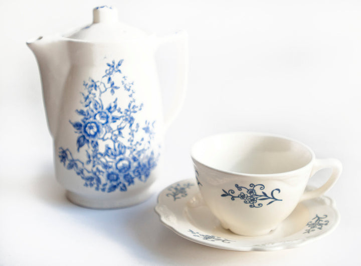 Vintage Mid Century Blue and White Electric Ceramic Teapot Gift Set Made in Japan