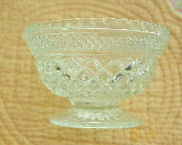 Vintage Mid-century Footed Bowl | Clear Glass Wexford Line Pressed Glass