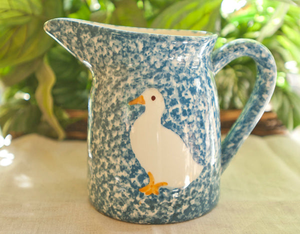 Vintage Spongeware Pitcher Blue and White Duck | Blue Spongeware by LA Potteries N.S. Gustin Co Stipple