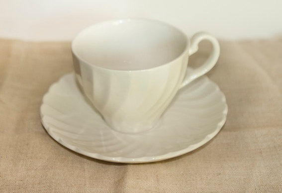Vintage White Teacup and Saucer set | Johnson Bros. Regency Pattern Made in England
