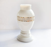 Milk Glass Vase with greek key design in gold