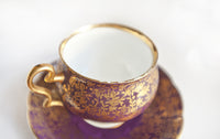 Taylor and Kent Bone China Footed Tea Cup and Saucer | Purple and Gold pattern 5046 | Rare Mid Century China