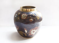 Vintage Brass Vase with Purple Enamel and Flowers Boho Style