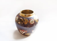 Vintage solid Brass Vase with Enamel finish