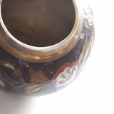 Vintage Brass Vase with Purple Enamel and Flowers