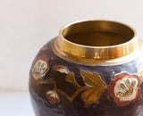 Vintage Brass Vase with Purple Enamel