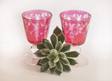 cranberry glass barware set
