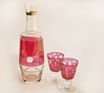 cranberry glass decanter barware set