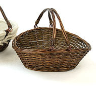 Market Basket | Willow Basket with Handle, dark brown, NO liner