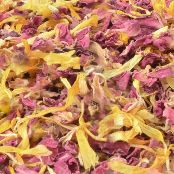 yellow and pink, Sustainable Wedding,  Biodegradable Confetti