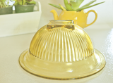vintage federal glass yellow bowl set depression glass