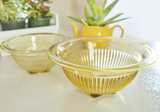 Vintage glassware yellow ribbed bowls