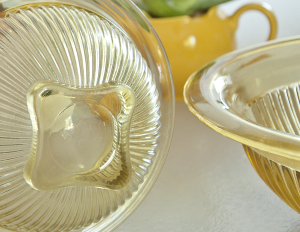 Vintage Yellow Depression Mixing bowl ribbed pattern glass with wide rim lip square base farmhouse collectible glass display