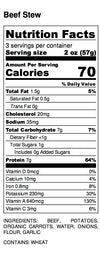 Chewies Baby Beef Stew Nutrition Label