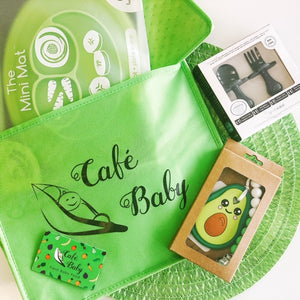 This bundle has all sorts of fun things for the perfect baby shower gift: These adorable teethers from Little E Designs, Grabease ergonomic fork and spoon sets, Food mats from ezpz, $30 Café Baby gift card. Try our baby food subscription box today! Our delivery service ships freshly prepped meals straight to your home.
