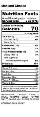 Mac and Cheese Nutrition Label