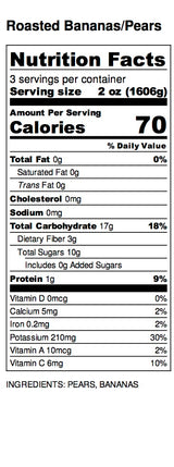 Roasted Banana Pear Nutrition Label
