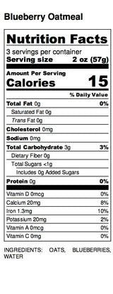 Blueberry Oatmeal Nutrion Label