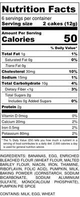 Orange Baby Cakes Nutrition Label
