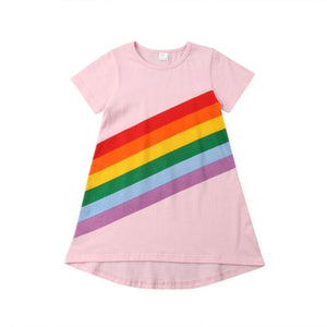 Pink Rainbow Stripe Dress