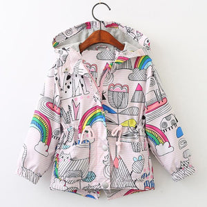 Coloring Book Drawstring Rain Jacket