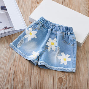 Flower Print Denim Shorts