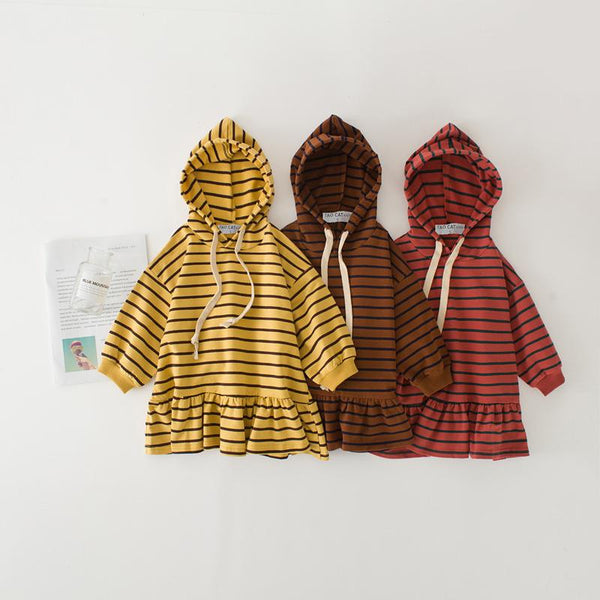 Autumn Striped Hoodie Dress