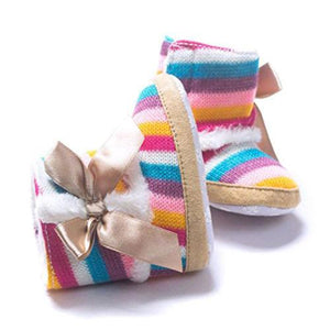 Color Striped Lined Boots