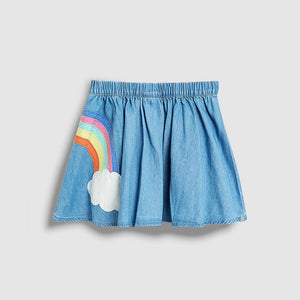 Rainbow Denim Skirt
