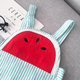 Watermelon Stripe Overalls