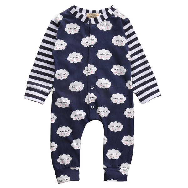 Navy Cloud Print Onesie