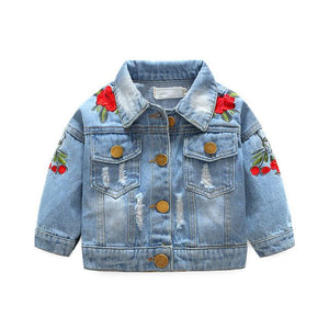 Rose Embroidered Denim Jacket
