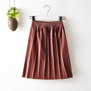 Velvet Pleated Skirt