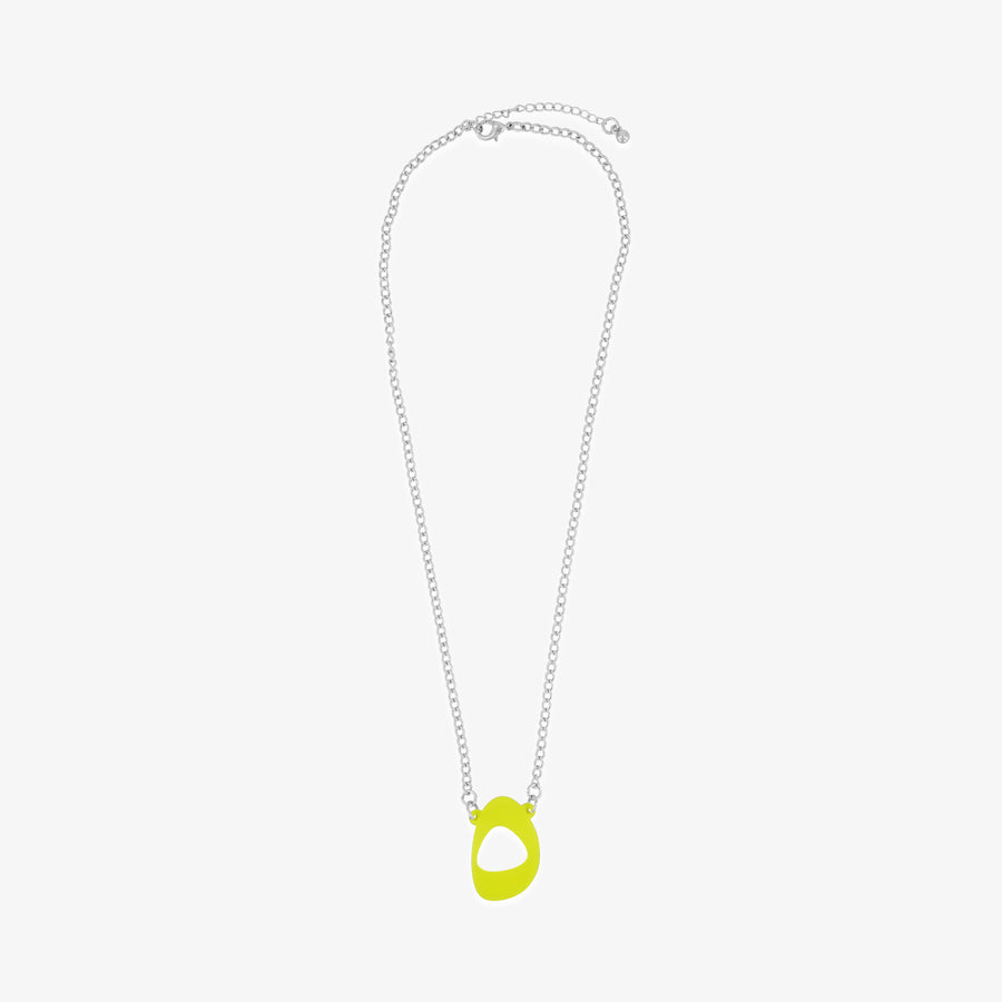 Acrylic 5ivepillars Logo Necklace - Neon Yellow