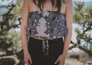 Paisley Strapless Crop