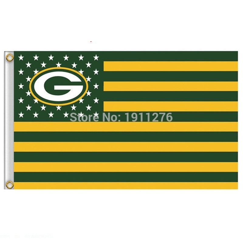Green Bay Packers Flag USA With Stars and Stripes NFL Flag 3x5 ft cust -  HotHomeFinds 789fd9fac