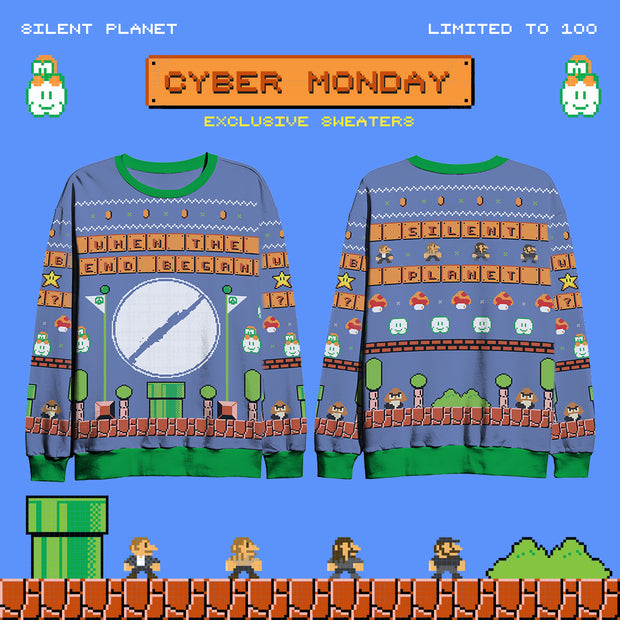 MARIO PLANET HOLIDAY SWEATER (BLUE)