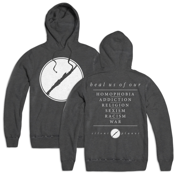 3. Heal Us Custom Hoodie - Grey Pigment Wash