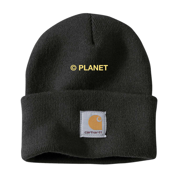 Embroidered Planet on Black Carhartt Beanie